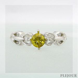 スフェーン リング アンティーク K18 ダイヤモンド付 ハート リング ハートに包まれたアンティーク 指輪/ プラチナ変更可能