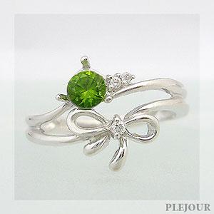 【10%OFF】デマントイドリング K18 リボン ダイヤモンド付 キュッと結んだ可憐なリボン 指輪/ プラチナ変更可能