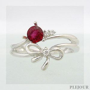 レディッシュサファイアリング K18 リボン ダイヤモンド付 キュッと結んだ可憐なリボン 指輪/ プラチナ変更可能