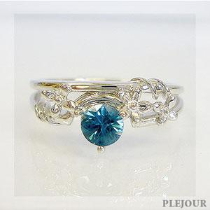 【10%OFF】ブルージルコンリング K18 フラワーモチーフ ダイヤモンド付 ブリージングフラワー 指輪/ プラチナ変更可能
