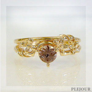 【10%OFF】シャンパンガーネットリング K18 フラワーモチーフ ダイヤモンド付 ブリージングフラワー 指輪/ プラチナ変更可能