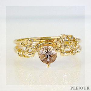 【10%OFF】モルガナイト リング K18 フラワーモチーフ ダイヤモンド付 ブリージングフラワー 指輪/ プラチナ変更可能
