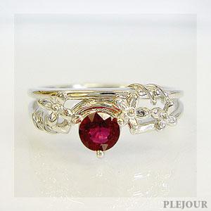 レディッシュサファイア リング K18 フラワーモチーフ ダイヤモンド付 ブリージングフラワー 指輪/ プラチナ変更可能