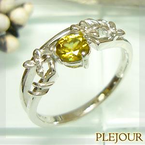 【10%OFF】スフェーン リング K18 フラワーモチーフ ダイヤモンド付 ブリージングフラワー 指輪/ プラチナ変更可能
