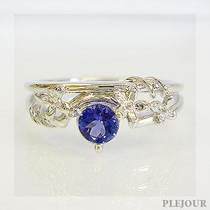 【10%OFF】タンザナイト リング K18 フラワーモチーフ ダイヤモンド付 ブリージングフラワー 指輪/ プラチナ変更可能