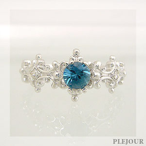 【10%OFF】ブルージルコン リング アンティーク K18 ダイヤモンド付  ラグジュアリーなアンティーク 指輪/ プラチナ変更可能