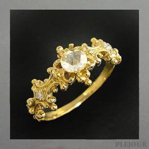 9/11 1:59迄ダイヤモンド リング・ローズカット アンティーク K18 ダイヤモンド付  ラグジュアリーなアンティーク 指輪/ プラチナ変更可能