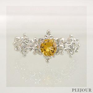 スペサルタイトガーネット リング アンティーク K18 ダイヤモンド付  ラグジュアリーなアンティーク 指輪/ プラチナ変更可能