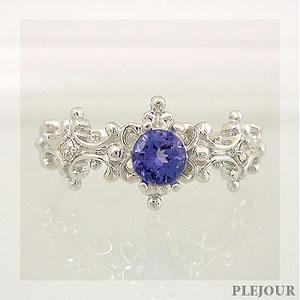 【10%OFF】タンザナイト リング アンティーク K18 ダイヤモンド付  ラグジュアリーなアンティーク 指輪/ プラチナ変更可能