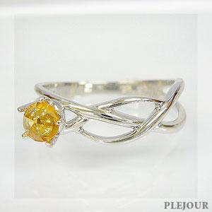 【10%OFF】オレンジサファイア・ローズカットリング K18 星モチーフ ライン シューティングスター 指輪/ プラチナ変更可能