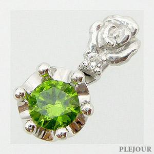 デマントイドペンダント K18 薔薇 王冠 ダイヤモンド付 ネックレス バラとクラウンのコンビ ペンダント/ プラチナ変更可能