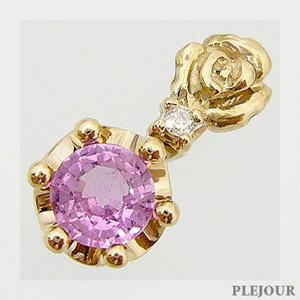 9/11 1:59迄ピンクサファイアペンダント K18 薔薇 王冠 ダイヤモンド付 ネックレス バラとクラウンのコンビ ペンダント/ プラチナ変更可能