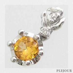 スペサルタイトガーネットペンダント K18 薔薇 王冠 ダイヤモンド付 ネックレス バラとクラウンのコンビ ペンダント/ プラチナ変更可能