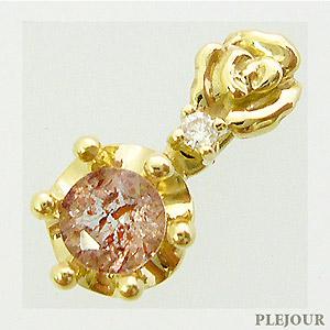 ストロベリークォーツペンダント K18 薔薇 王冠 ダイヤモンド付 ネックレス バラとクラウンのコンビ ペンダント/ プラチナ変更可能