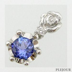 タンザナイトペンダント K18 薔薇 王冠 ダイヤモンド付 ネックレス バラとクラウンのコンビ ペンダント/ プラチナ変更可能