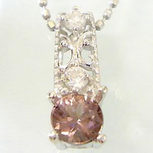26日1:59迄 シャンパンガーネットペンダントK18 アンティーク ダイヤモンド付 ネックレス  大人のアンティーク ペンダント/ プラチナ変更可能