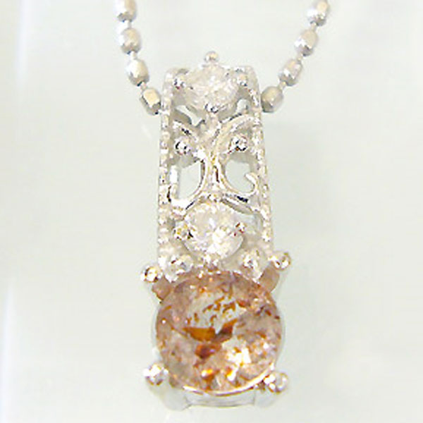 【10%OFF】ストロベリークォーツペンダント K18 アンティーク ダイヤモンド付 ネックレス  大人のアンティーク ペンダント/ プラチナ変更可能