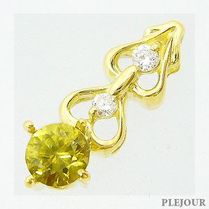 スフェーンペンダント K18 ハートモチーフ ダイヤモンド付 ネックレス 可憐なモダンスタイル ペンダント/ プラチナ変更可能