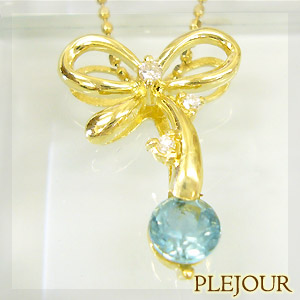 9/11 1:59迄アパタイト ペンダント K18 リボン ダイヤモンド付 ネックレス キュッと結んだ可憐なリボン ペンダント/ プラチナ変更可能