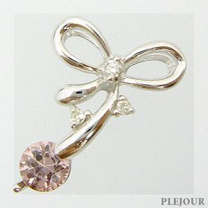 シャンパンガーネット ペンダント K18 リボン ダイヤモンド付 ネックレス キュッと結んだ可憐なリボン ペンダント/ プラチナ変更可能