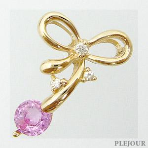 26日1:59迄 ピンクサファイア ペンダント K18 リボン ダイヤモンド付 ネックレス キュッと結んだ可憐なリボン ペンダント/ プラチナ変更可能