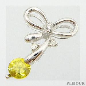 スフェーンペンダント K18 リボン ダイヤモンド付 ネックレス キュッと結んだ可憐なリボン ペンダント/ プラチナ変更可能