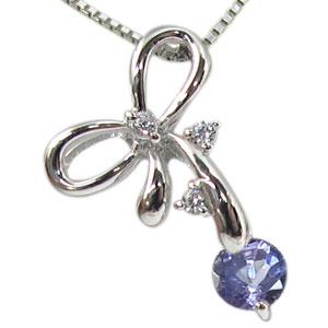 【10%OFF】タンザナイトペンダント K18 リボン ダイヤモンド付 ネックレス キュッと結んだ可憐なリボン ペンダント/ プラチナ変更可能