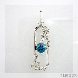 【10%OFF】ブルージルコンペンダント K18 フラワーモチーフ ダイヤモンド付 ネックレス ブリージングフラワー ペンダント/ プラチナ変更可能