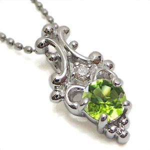 ペリドットペンダント アンティーク K18 ダイヤモンド付 ネックレス ラグジュアリーなアンティーク ペンダント/ プラチナ変更可能