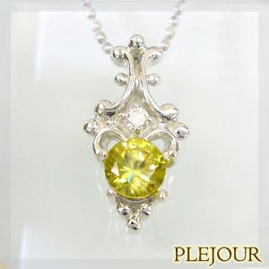 9/11 1:59迄スフェーンペンダント アンティーク K18 ダイヤモンド付 ネックレス ラグジュアリーなアンティーク ペンダント/ プラチナ変更可能