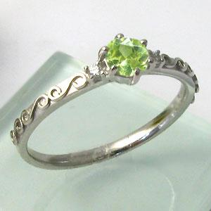 ペリドットリング ピンキーリング アンティーク K18 ダイヤモンド 指輪