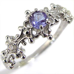 エンゲージリング・タンザナイト・アンティークリング・K18WG婚約指輪