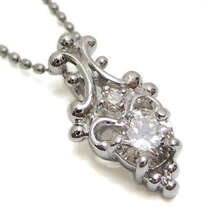 【10%OFF】ダイヤモンド・ペンダント・アンティーク・K18WG・ネックレス