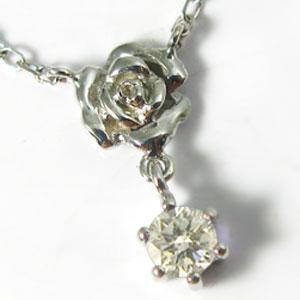 ダイヤモンド・ペンダント・K18ゴールド・ネックレス・薔薇・ダイヤネックレス