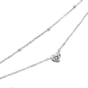 ダイヤモンド ブレスレット 18金 ハート 一粒 ブレス