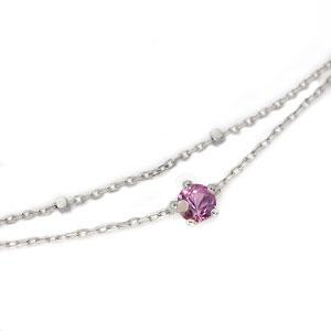ピンクサファイア・ブレスレット・18金・王冠・一粒・ブレス・2連