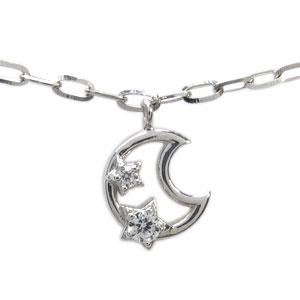 ダイヤモンド ブレスレット 18金 月 星 ブレス