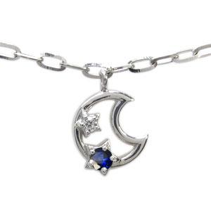 サファイア ブレスレット 18金 月 星 ブレス
