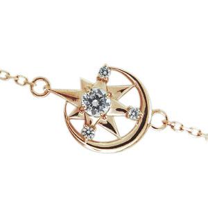 チェーン ダイヤモンドブレスレット 月 星 K10 モチーフ アンクレット