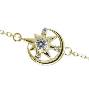 月 星 ブレスレット ダイヤモンド アンクレット 人気 K18 チェーン