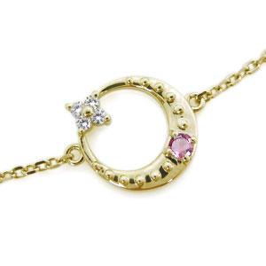 ピンクトルマリン ブレスレット 月 星モチーフ 10金 ブレス