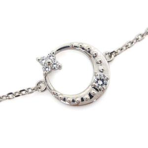 月モチーフ 星モチーフ ダイヤモンド プラチナ ブレスレット