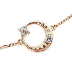 18金 ブレスレット ダイヤモンド 月 星 ブレスレット