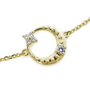 9日20時~ 18金 アンクレット ダイヤモンド 月 星 アンクレット