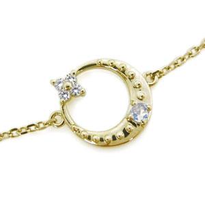 ロイヤルブルームーンストーン ブレスレット 月 星モチーフ 10金 ブレス