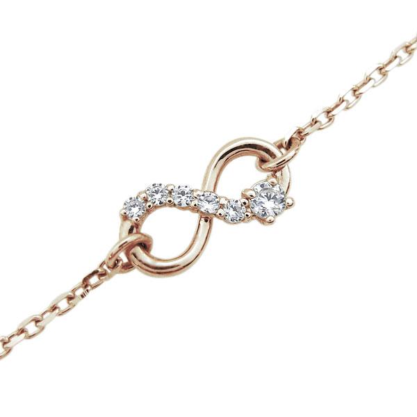ブレスレット 無限 ダイヤモンド インフィニティ ブレスレット 10金