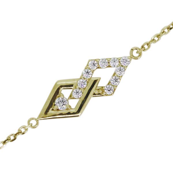 ブレスレット ダイヤモンド レディース 4月誕生石 ひし形 10金 アンクレット