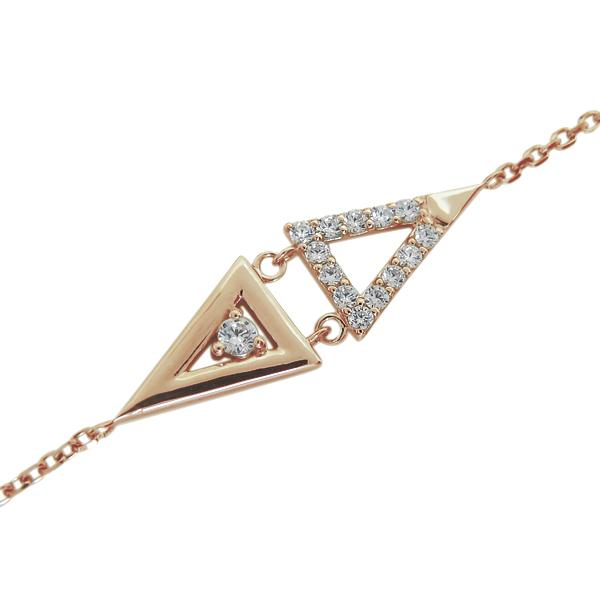 【10%OFF】1月1日00:00~ ブレスレット レディース ダイヤモンド 18金 トライアングル ブレス クリスマス プレゼント
