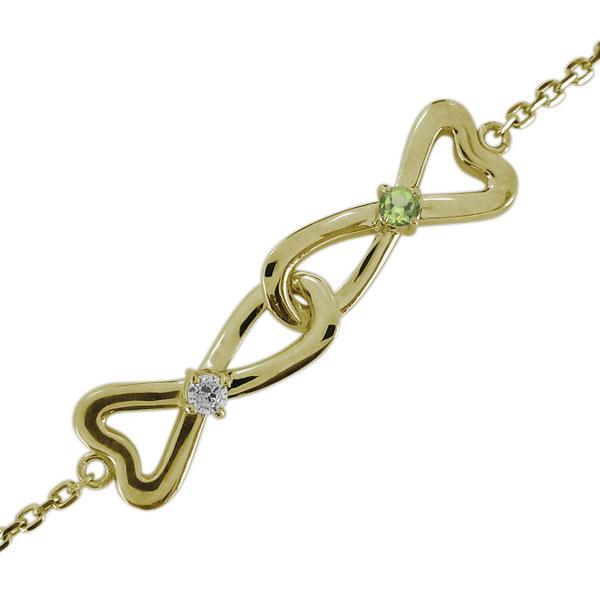 ブレスレット・ハート・インフィニティ・レディース・ダイヤモンド・10金・無限 母の日 プレゼント