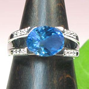 【10%OFF】1月1日00:00~ プラチナ900・ブルートパーズリング・ダイヤモンド・指輪